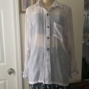 Women's Silk Blend Button-up Shirt.WHITE.SMALL.